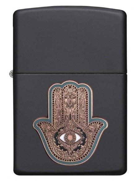 Zippo Lighter Black Matte Hamsa Hand