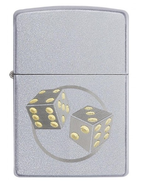Zippo Lighter Satin Chrome Dice