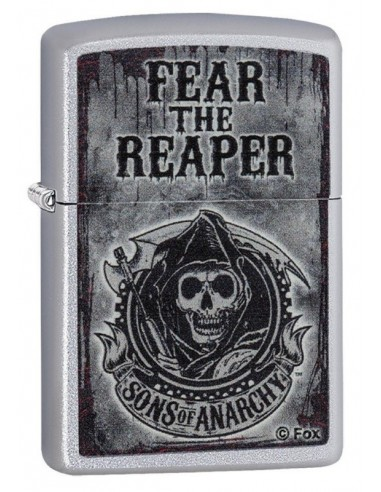 "Zippo Lighter Satin Chrome Sons of Anarchy ""Fear the Reaper"""