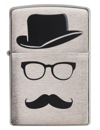 Zippo Lighter Classic Brushed Chrome Moustache and Hat