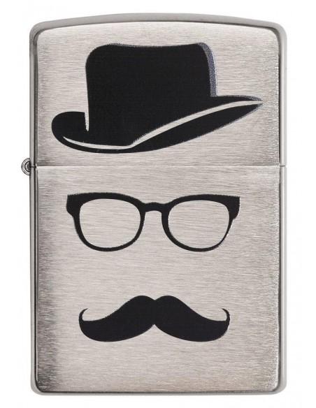 Zippo Upaljač Brushed Chrome Moustache and Hat