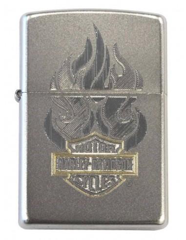 Zippo Upaljač Satin Chrome Harley Davidson Flame Bar & Shield Engraved