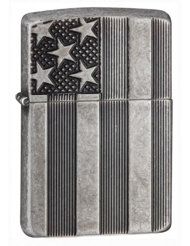 Zippo Lighter Armor Antique Silver Plate US Flag