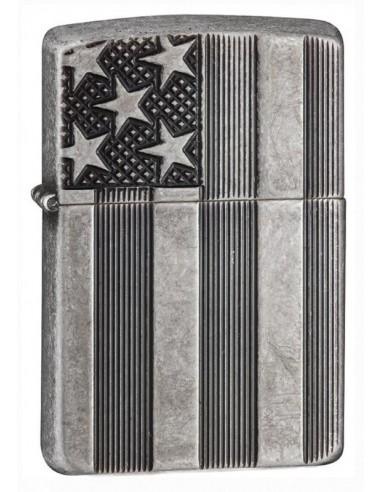 Zippo Upaljač Armor Antique Silver Plate US Flag