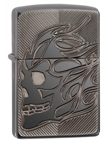 Zippo Upaljač Armor Black Ice Deep Carve Skull Flame