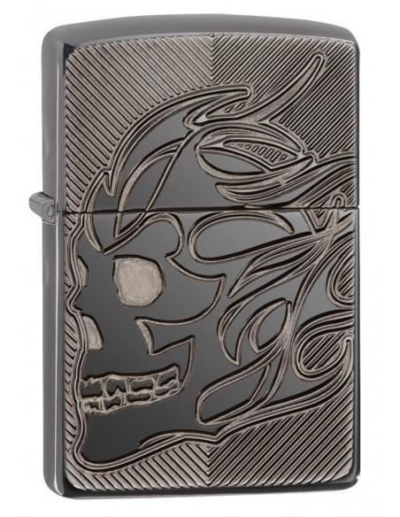 Zippo Lighter Armor Black Ice Deep Carve Skull Flame