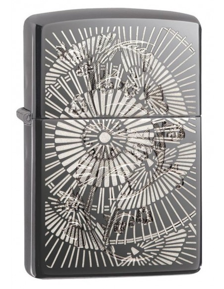 Zippo Upaljač High Polish Black Ice Asian Floral