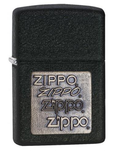 Zippo Lighter Black Crackle Brass Embelm Zippo Zippo Zippo