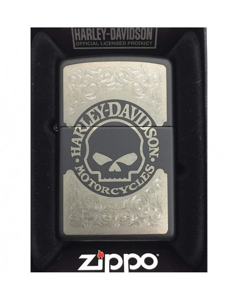 Zippo Upaljač Black Matte Harley Davidson Mens Willieg Skull Laser Etched
