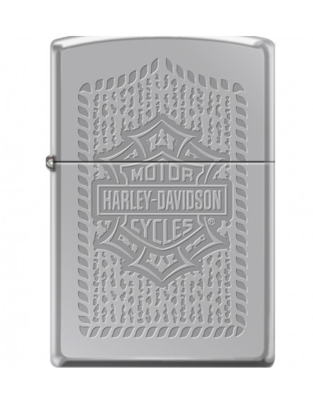 Zippo Lighter High Polish Chrome Harley Davidson Bar & Shield Logo Pattern