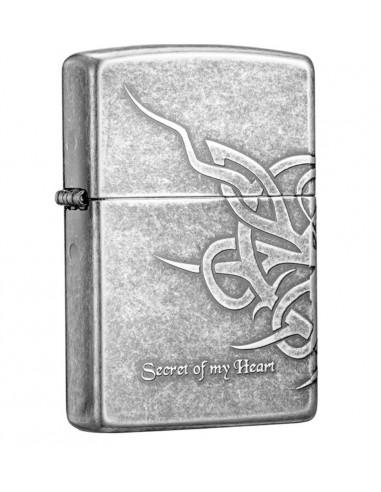 Zippo Lighter Antique Silver Plate Secret of My Heart