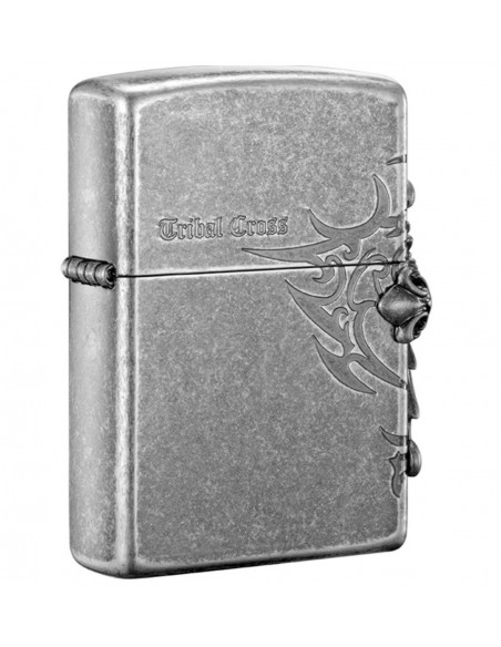 Zippo Upaljač Antique Silver Plate Tribal Cross Emblem