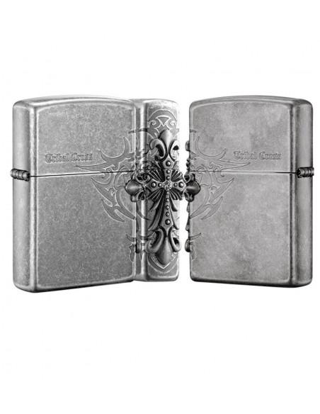 Zippo Lighter Antique Silver Plate Tribal Cross Emblem