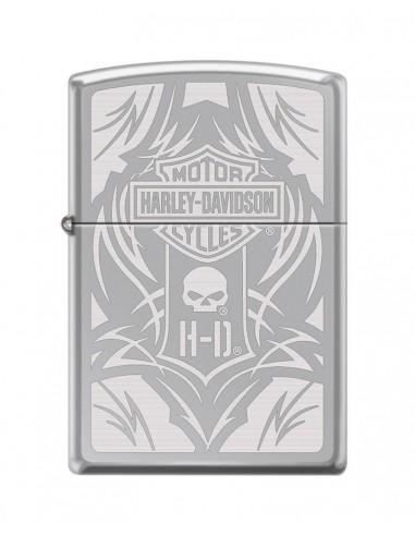 Zippo Lighter High Polish Chrome Harley Davidson Bar & Shield Logo & Willieg Skull