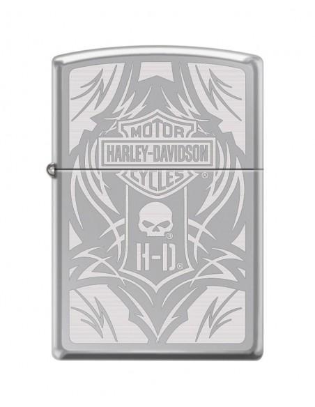 Zippo Upaljač High Polish Chrome Harley Davidson Bar & Shield Logo & Willieg Skull