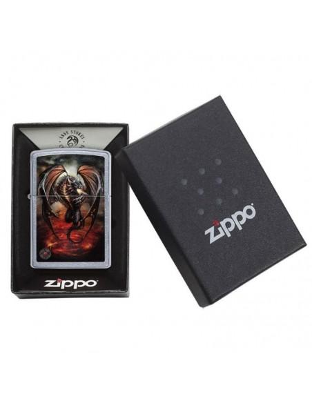 Zippo Lighter Street Chrome Anne Stokes Red Dragon