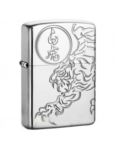 Zippo Lighter High Polish Tiger Engraved Shishin-Byakko