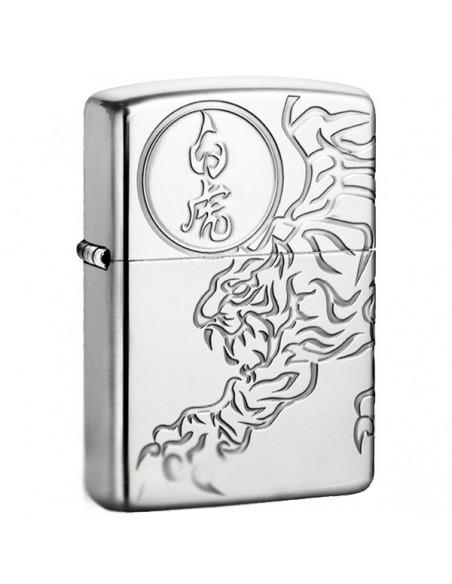 Zippo Lighter High Polish Tiger Engraved Shishin-Byakko