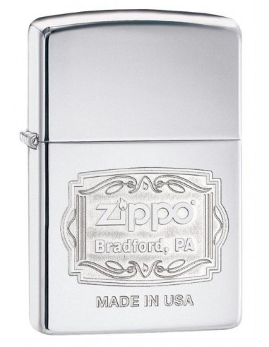 Zippo Lighter Classic High Polish Chrome Zippo Bradford Engraved